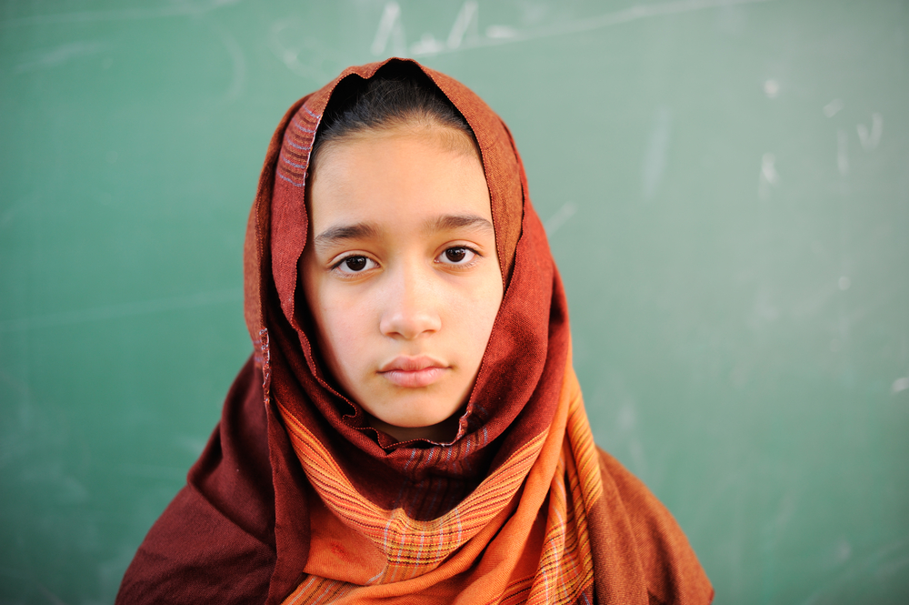 Muslim girl with hijab in school